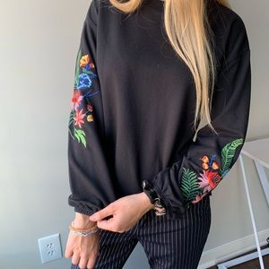 BLACK FLORAL EMBROIDERED PUFFED LONG SLEEVE